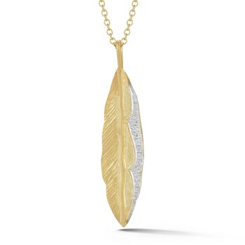 14K-Y FEATHER PEND., 0.10CT