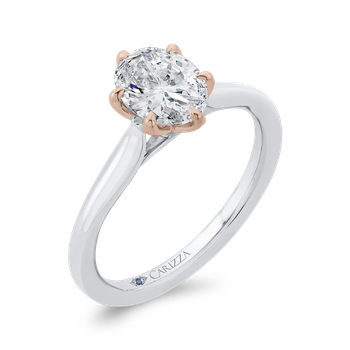 18K Two-Tone Gold Oval Diamond Solitaire Engagement Ring  (Semi-Mount)