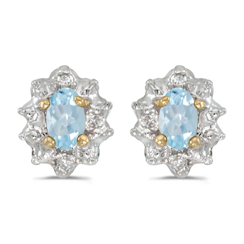 10k Yellow Gold Oval Aquamarine And Diamond Earrings