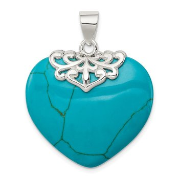 Sterling Silver Turquoise Heart Stone Pendant