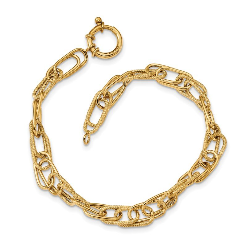 Quality Gold 14k Polished and Textured Fancy Link Bracelet
