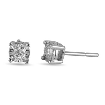 14K WG Diamond Mini Solitaire Earring in Miracle Setting
