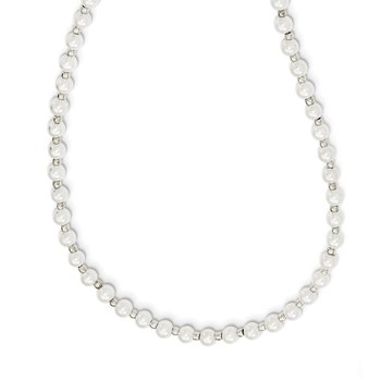 4-5mm White Imitation Shell Pearl with Glass Bead Eyewear Chain