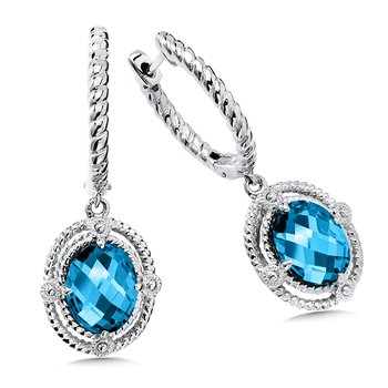 Sterling Silver London Blue Topaz Dangle Hoop Earrings