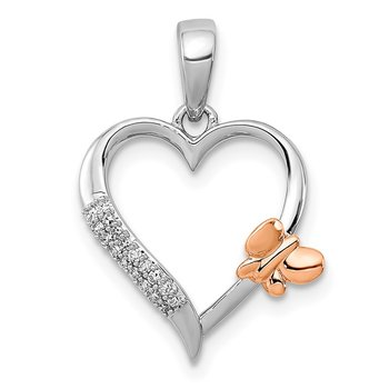SS & 14k True Two-tone Rose Gold Butterfly Diamond Heart Pendant