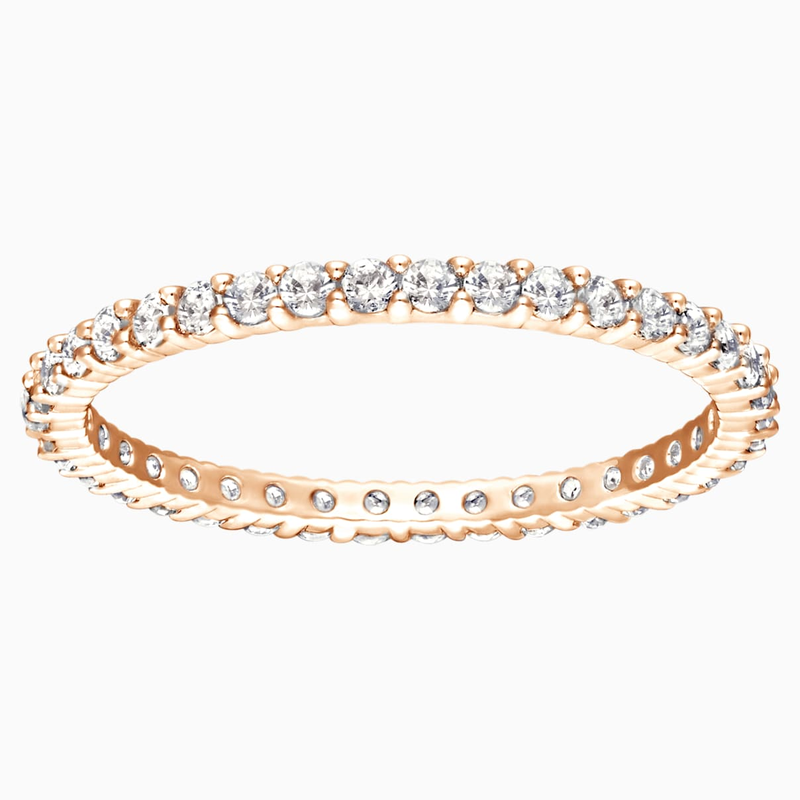 Swarovski Vittore Ring, White, Rose-gold tone plated