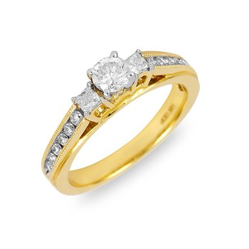 14K YG Diamond Cathedral PPF Engagement Ring