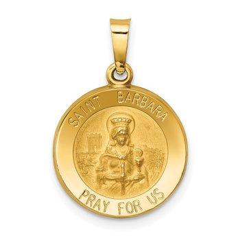 14k Polished and Satin St. Barbara Medal Hollow Pendant