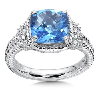 Sterling silver, blue topaz and white diamond ring