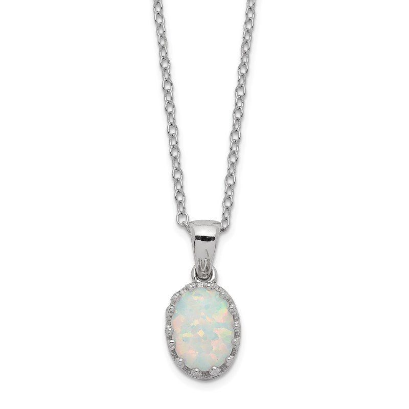 Quality Gold Sterling Silver Rhodium-plated Polish Oval Created Opal Necklace