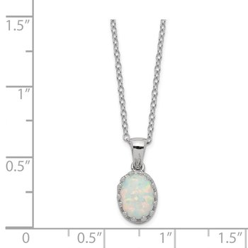 Sterling Silver Rhodium-plated Polish Oval Created Opal Necklace