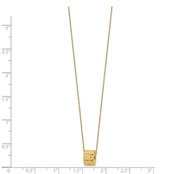 14K Rope Chain w/ Barrel Bead w/ 2in Extension Necklace