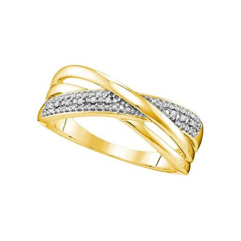 10kt Yellow Gold Womens Round Diamond Crossover Band Ring .02 Cttw