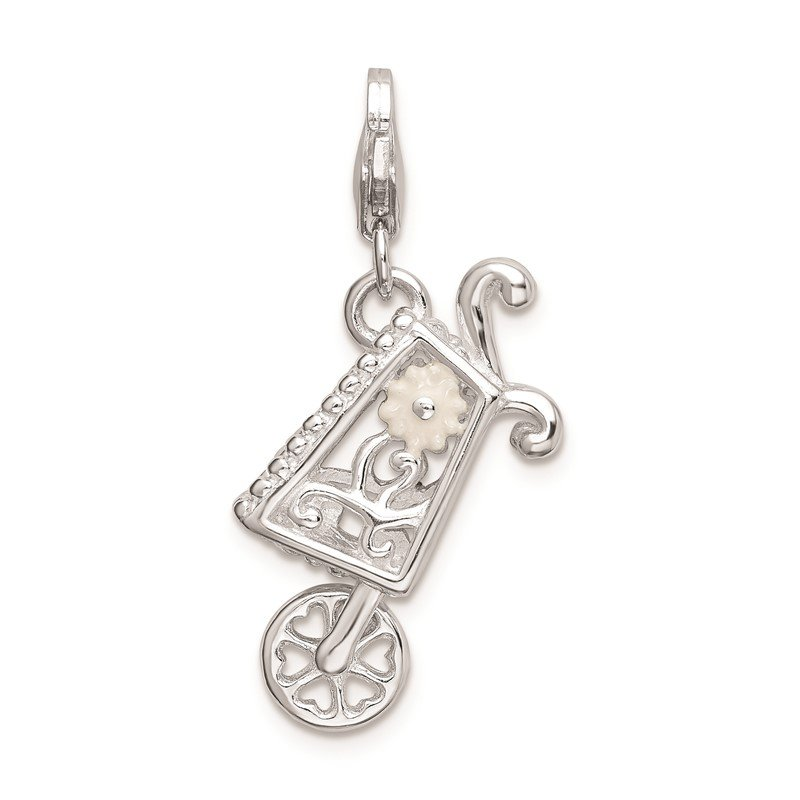 Quality Gold Sterling Silver RH 3-D Enameled Wheelbarrow w/Lobster Clasp Charm