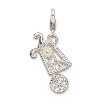 Sterling Silver RH 3-D Enameled Wheelbarrow w/Lobster Clasp Charm
