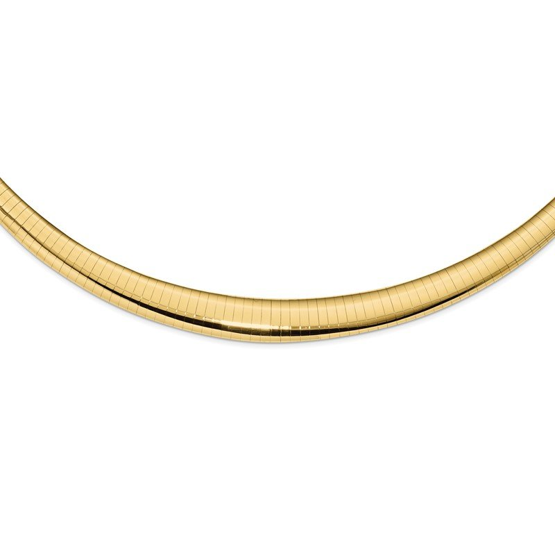 Quality Gold 14k Polished 4/8mm Graduated Omega Necklace