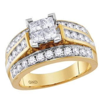 14kt Yellow Gold Womens Princess Diamond Cluster Bridal Wedding Engagement Ring 1-3/4 Cttw