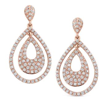 Diamond Double Teardrop Earrings in 14K Rose Gold with 178 Diamonds Weighing  .73ct tw