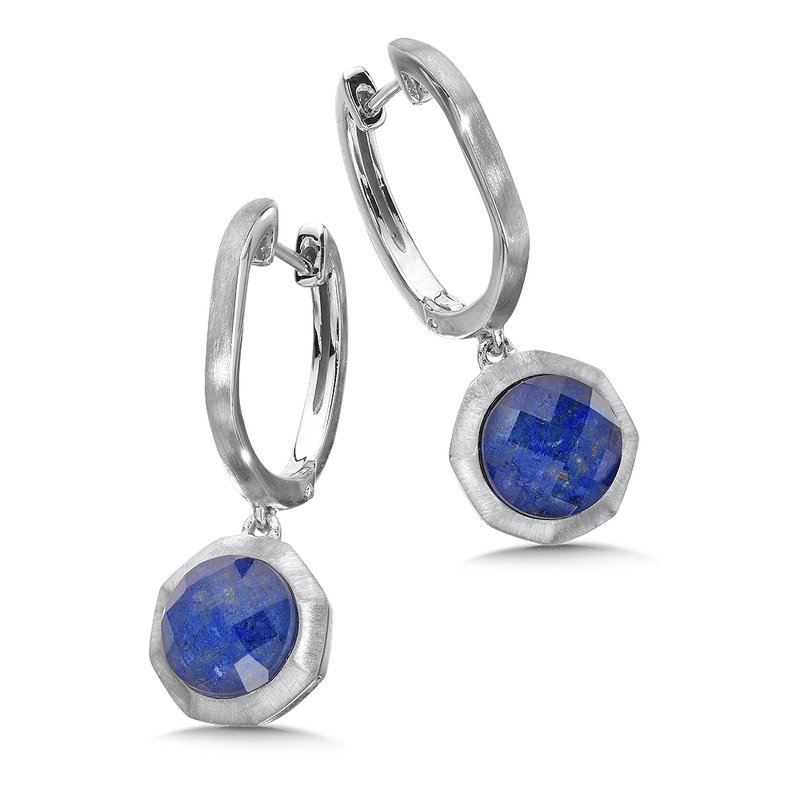 Colore Sg Sterling Silver White Quartz & Lapis Fusion Dangle Hoop Earrings