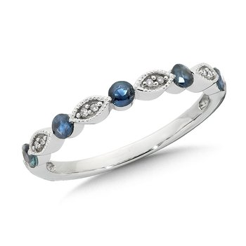 Classic Floating Sapphire and Diamond Stackable Ring in 10k White Gold