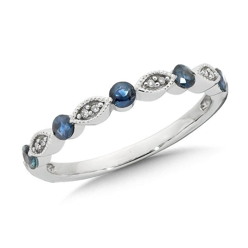 SDC Creations Classic Floating Sapphire and Diamond Stackable Ring in 10k White Gold