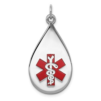 Sterling Silver Rhodium-plated Medical Jewelry Pendant