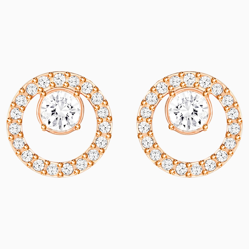 Swarovski Creativity Circle Pierced Earrings, White, Rose-gold tone plated