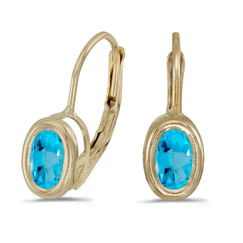 Color Merchants 14k Yellow Gold Oval Blue Topaz Bezel Lever-back Earrings