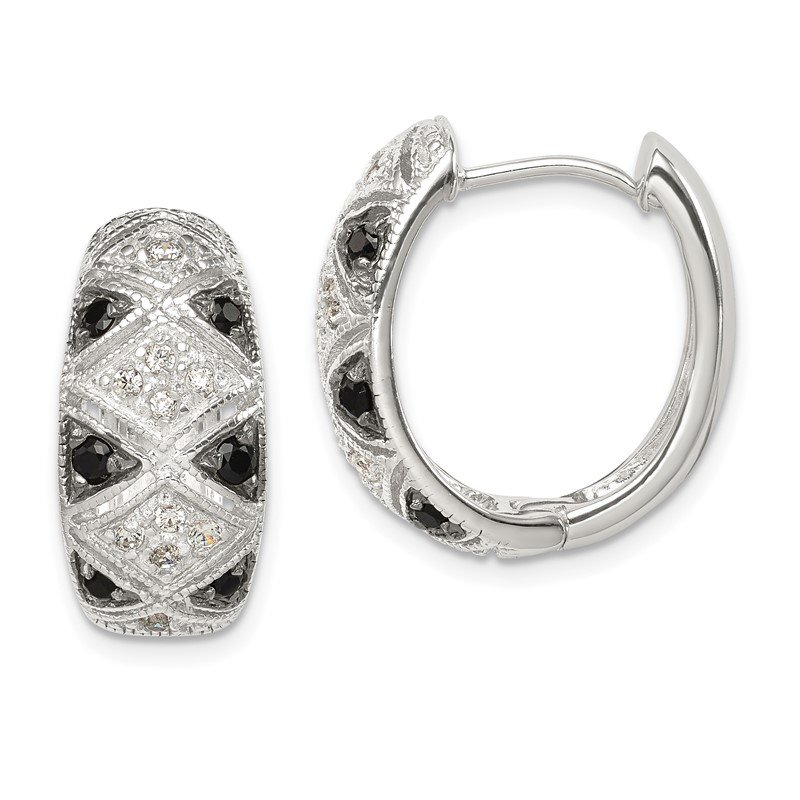 Quality Gold Sterling Silver Black and Clear CZ Hinged Hoop Earrings