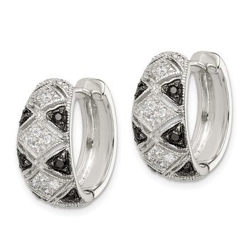 Sterling Silver Black and Clear CZ Hinged Hoop Earrings