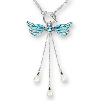 Sterling Silver Dragonfly Necklace-Blue. Diamonds, Blue Topaz and Pearl.
