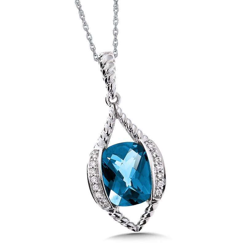 Colore Oro Blue Topaz & Diamond Pendant in 14K White Gold