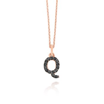 "Black Diamond Baby Block Initial ""Q"" Necklace"