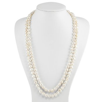 9-10mm White Freshwater Cultured Pearl 64 inch Baroque Endless Necklace