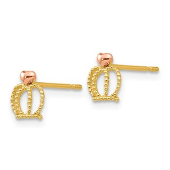 14k Yellow & Rose Madi K Gold Children's Crown Post Earrings