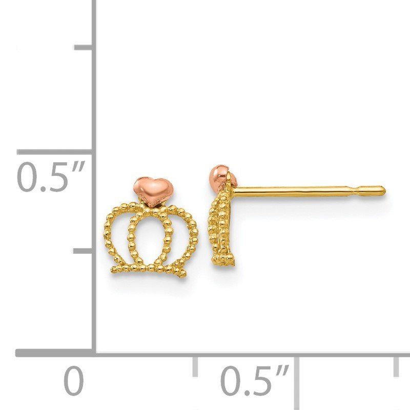 Quality Gold 14k Yellow & Rose Madi K Gold Children's Crown Post Earrings