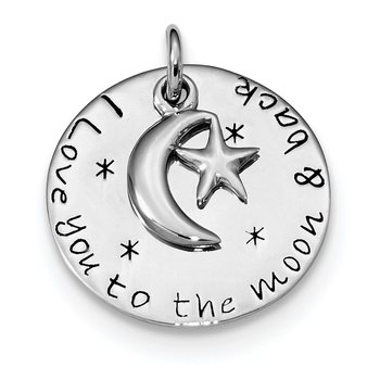Sterling Silver Rhodium-plated Love You To Moon & Back Pendant