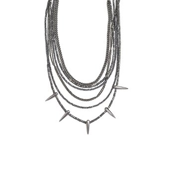 Multi Layered Necklace With Various Hematite Beads, Silver Chains And Spikes