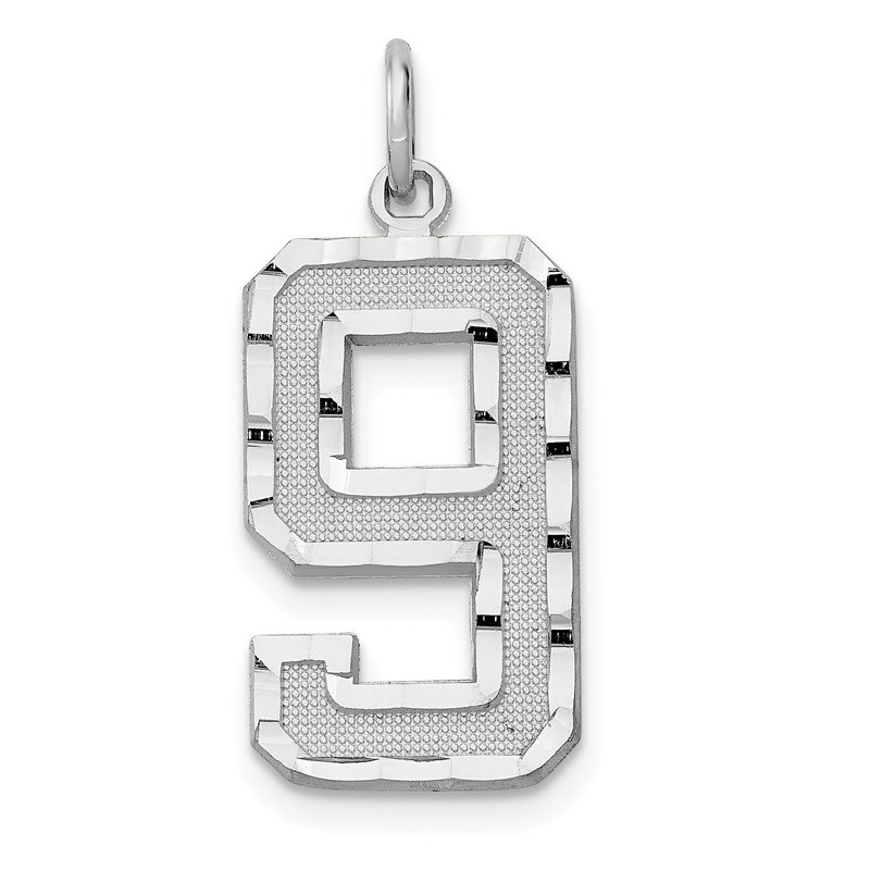 J.F. Kruse Signature Collection 14kw Casted Large Diamond Cut Number 9 Charm