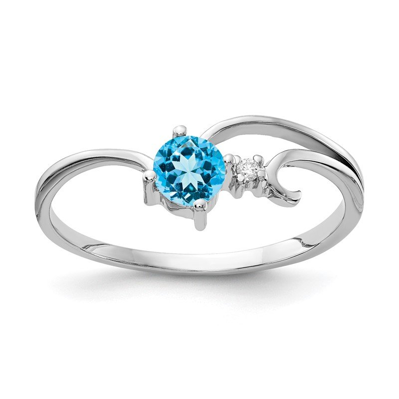 Quality Gold 14k White Gold 4mm Blue Topaz AA Diamond ring