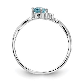 14k White Gold 4mm Blue Topaz AA Diamond ring