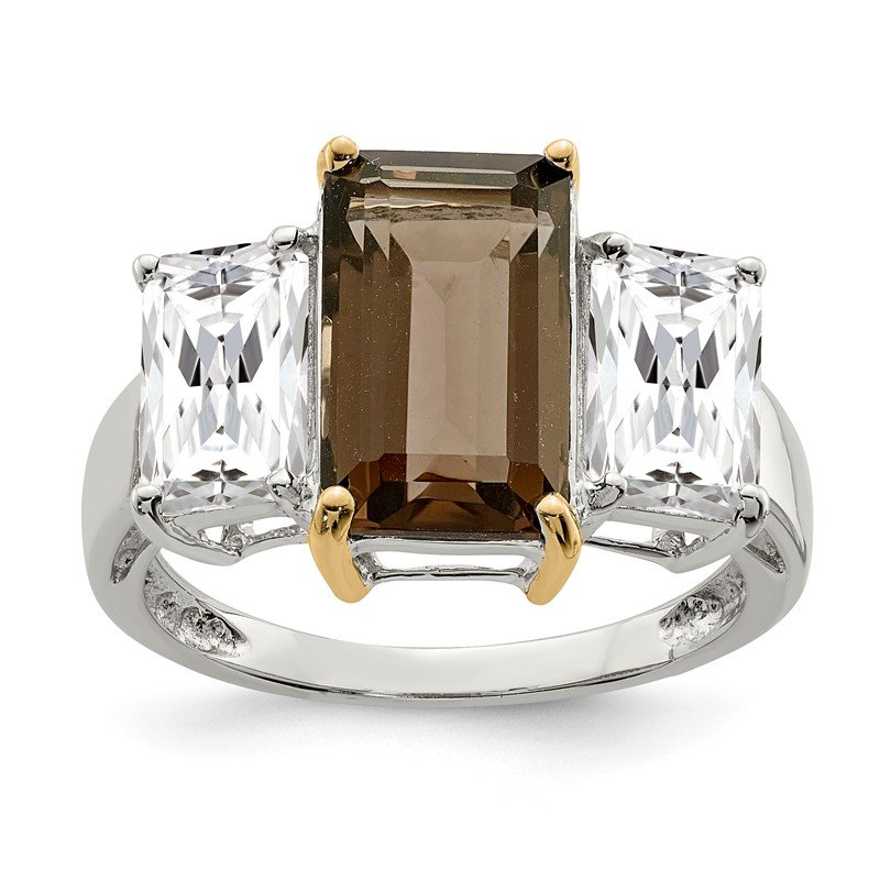 Quality Gold Sterling Silver & 14K Smoky Quartz and White Topaz Ring