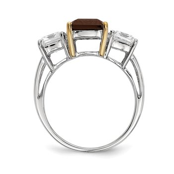 Sterling Silver & 14K Smoky Quartz and White Topaz Ring