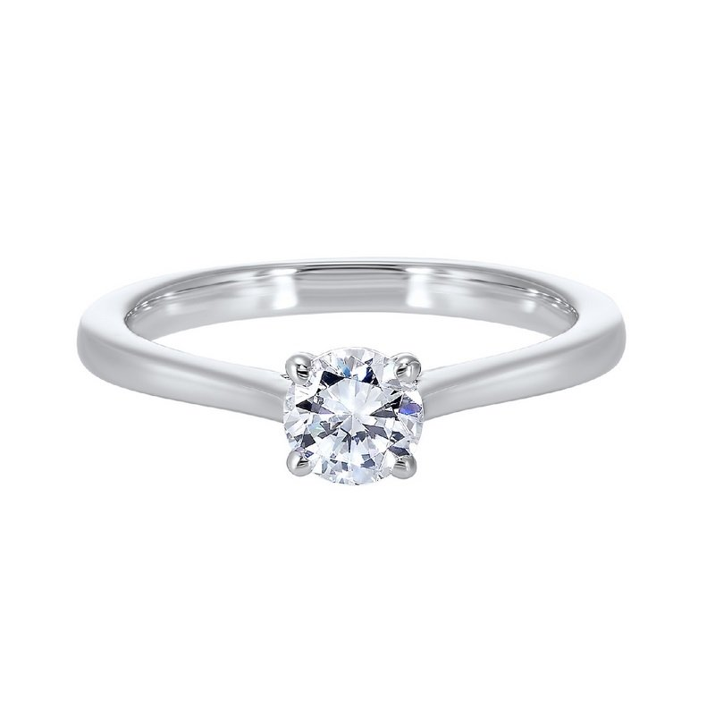 Gems One Diamond Round Classic Solitaire Engagement Ring in 14k White Gold (1/4ctw)