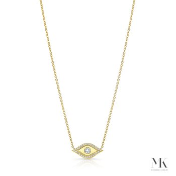 Yellow Gold Piety Evil Eye Necklace