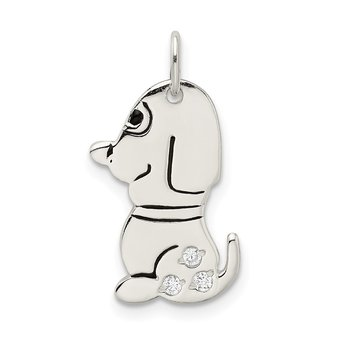 Sterling Silver Polished Enameled w/CZ Dog Charm