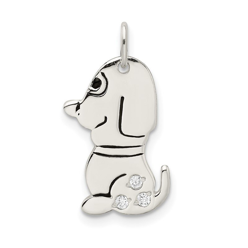 Quality Gold Sterling Silver Polished Enameled w/CZ Dog Charm