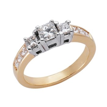 Yellow & White Gold Three Stone Ring