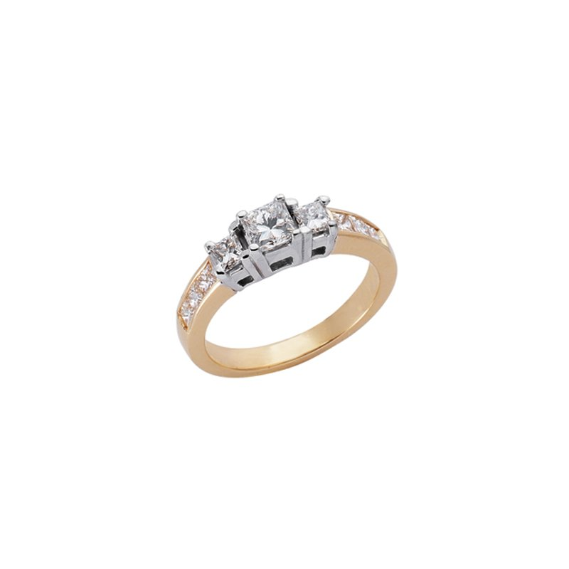 Briana Yellow & White Gold Three Stone Ring