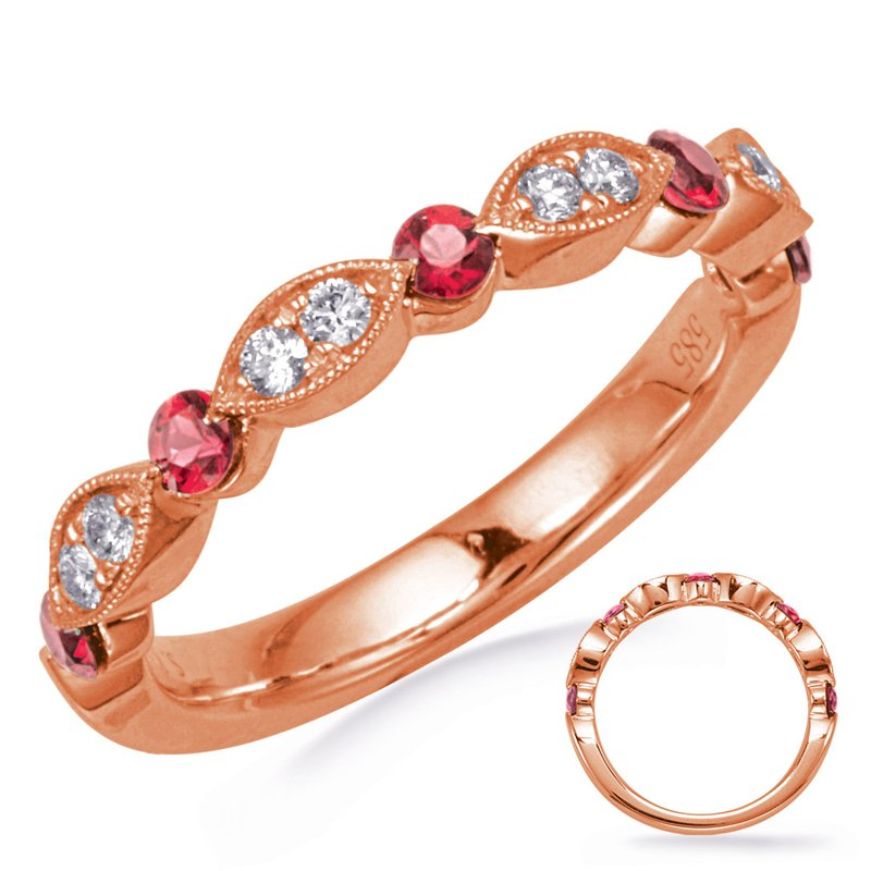 S. Kashi  & Sons Rose Gold Ruby & Diamond Ring